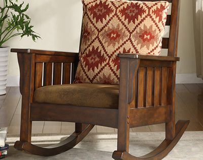 Furniture of America Mission Style Rocking Accent Chair - Dark Oak ...