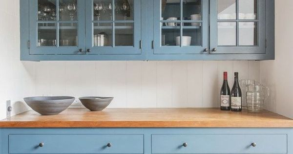 New Kitchen With Light Blue Cabinets Butcher Block