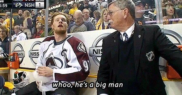 Gabriel Landeskog After Fighting Shea Weber Avalanche At Predators 2 24 15 Boys Hockey Hockey Season Hockey Humor
