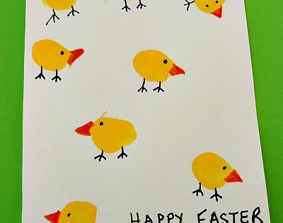 Thumbprint Easter Chicks Card Craft by kiboomu: The smaller the thumb, the