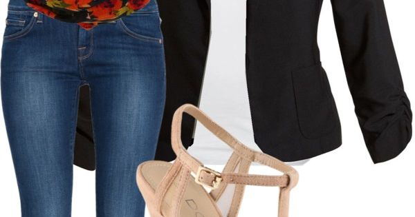 Black blazer, black and red rosey scarf, jeans, and either nude shoes