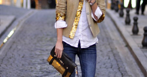 Jacket with sequin trim looks great with classic white shirt