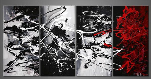 Abstract Painting Modern Black White Red Gray Acrylic Painting by Osnat -