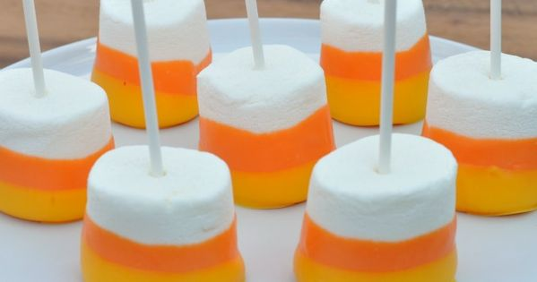 "Halloween ideas. ""candy corn"" marshmallows."