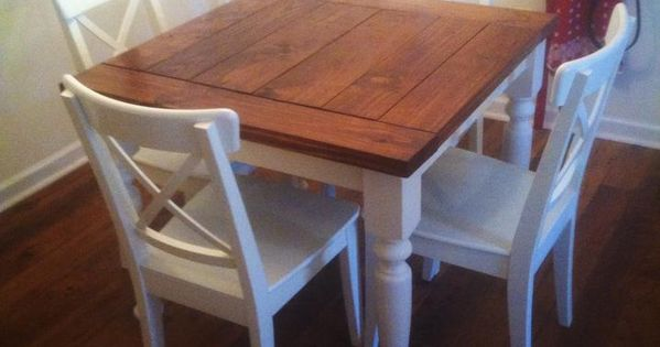 Square turned leg farmhouse kitchen table do it yourself home projects from ana white - Ana white kitchen table ...