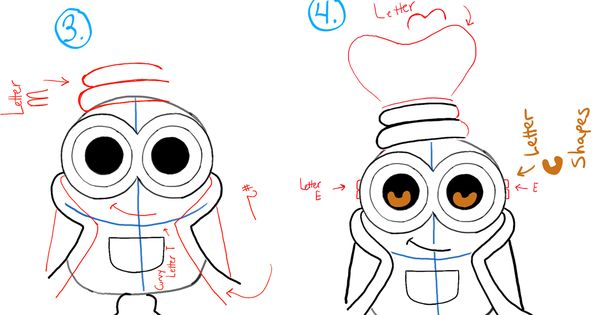 how to draw cute minions step by step