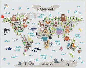 Animal World Map Print Kids World Map Poster Nursery World Map