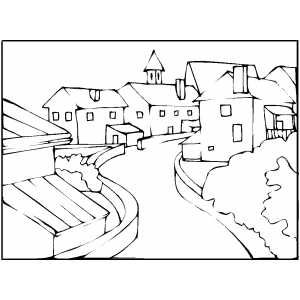 Curved Town Street Coloring Pages Coloring Books Painting