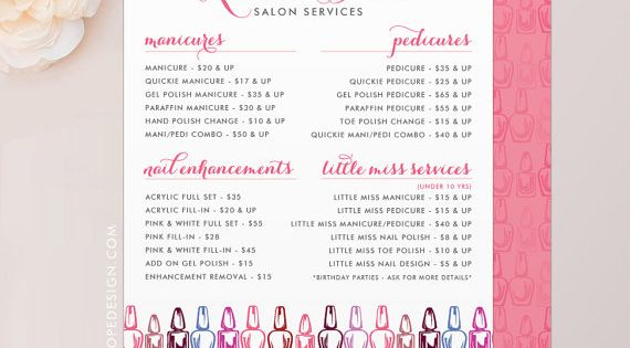Nail technician manicurist or nail salon services menu for A list nail salon