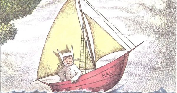 Vintage book page Max in boat Where the Wild Things Are by ...