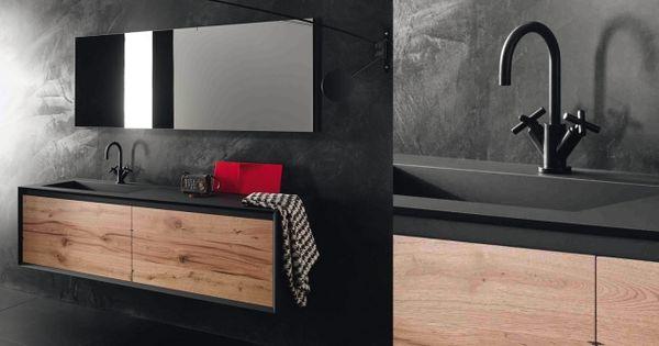 Meuble stocco iks en fenix noir et bois vintage salle de for Meuble 5 etoile 2018