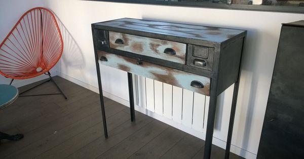 console bois m tal console industrielle console m tallique console vintage console patin e. Black Bedroom Furniture Sets. Home Design Ideas