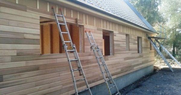 Pose du bardage Reed-cedar Construction maison bois Eure et Loir - constructeur maison hors d eau hors d air