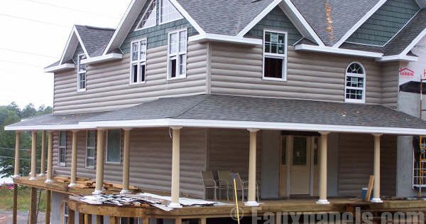 Log siding cypress for the home pinterest faux for Fake log siding for homes