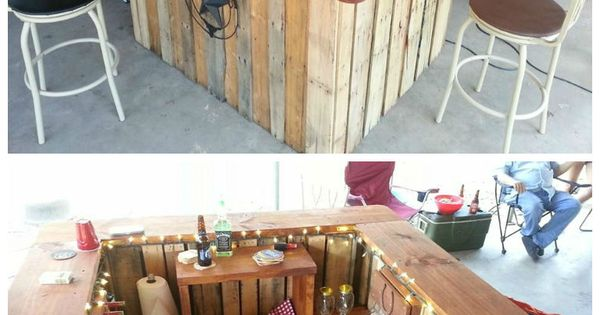 Backyard Western Themed Bar I built this western themed pallet bar using three 48X40 pallets as the base and topped it with a 12&qout;x2&qout; plank. I then added a shelf in the back with rustic decorations like a garden rake and shotgun shell rac...