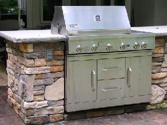 Grill Tops For Outdoor Kitchens Cultured Stone Grill Surround With Bluestone Counter Top Outdoor Kitchen Countertops Outdoor Kitchen Outdoor Kitchen Design