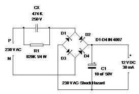 Transformer Less 12v Power Supply Out Of Led Bulb Power Supply Circuit Electronics Circuit Electrical Circuit Diagram