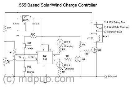 A New Solar Wind Charge Controller Based On The 555 Chip Diy Solar Charger Solar Circuit Diagram