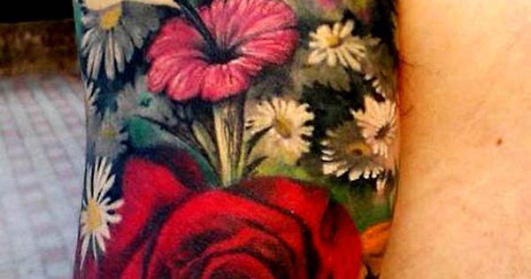 Amazing Half sleeve tattoo flowers birds butterflies