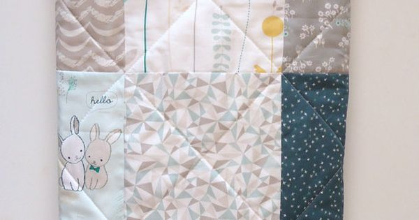 Baby quilt gender neutral traditional patchwork crib for Unisex baby fabric