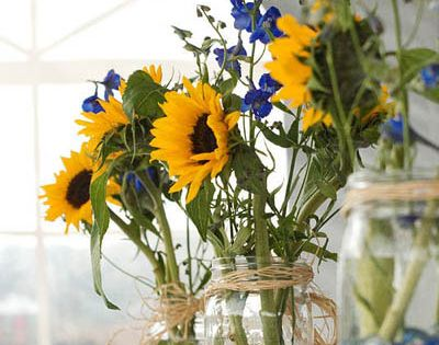 Oktoberfest Decorating Ideas | party ideas college – sunflower mason jar centerpieces