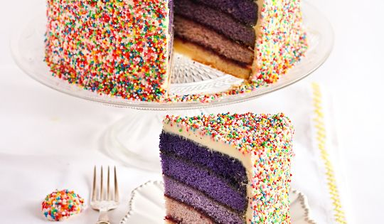 purple ombre sprinkles cake - definitely trying an ombre layer cake very