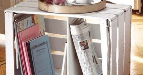 Ideas For Repurposing Old Crates - End Table with Wheels diy decor