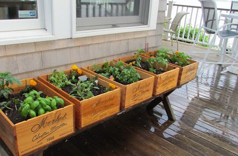 #DIY Deck / herb garden using wine boxes. How cute would this