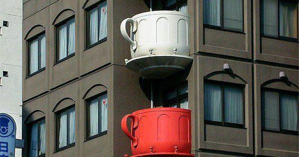 Tea Cup Balconies in Japan !! Inspiration for a teacup gazebo!!! Could