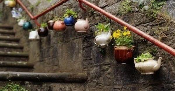 street art tea kettle planters