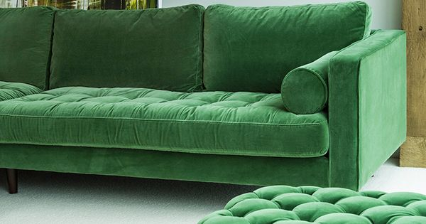 Green Velvet Left Sectional Tufted