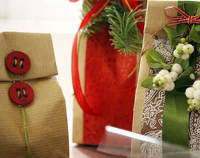 Brown paper bag gift wrap idea