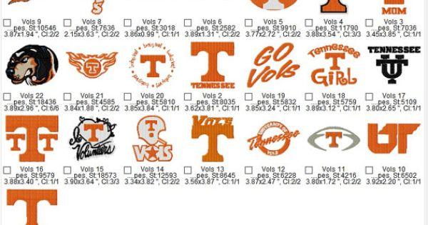 University Of Tennessee Vols Huge Set Embroidery Machine