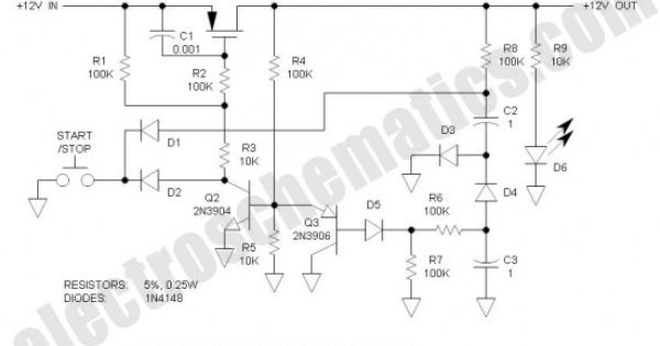Single Pushbutton Run Stop Circuit Circuit Electronics Circuit Pushbutton
