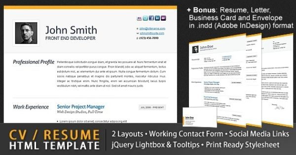clean cv responsive resume template 4 bonuses