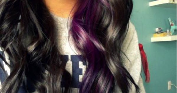 Purple highlights on dark hair :) wanna do this!!! if i had