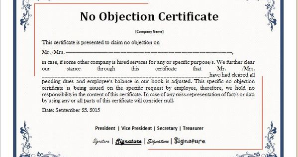 No Objection Certificate Template DOWNLOAD At