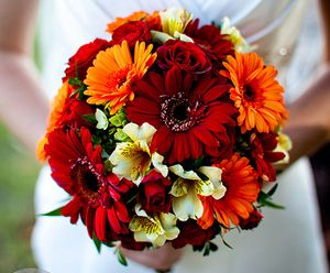 Gerber Daisy And Sunflower Bouquet Flower Bouquet Wedding Daisy Wedding Flowers Fall Wedding Bouquets