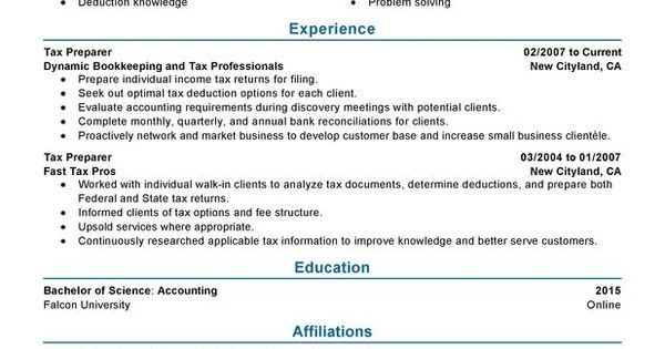 Tax Preparer Resume Sample | Sample Resume And Free Resume Templates