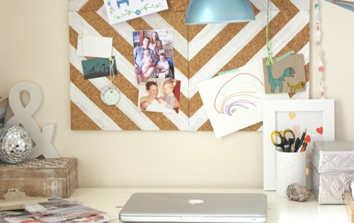 DIY painted corkboard. Dorm room idea for next year!