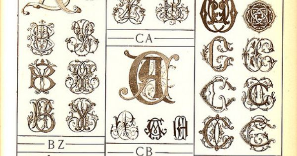 Antique page of monograms fonts and embroidery