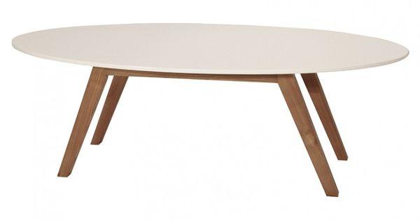 Table basse ovale design ida blanc et bois d 39 h v a for Table basse bois blanc ceruse
