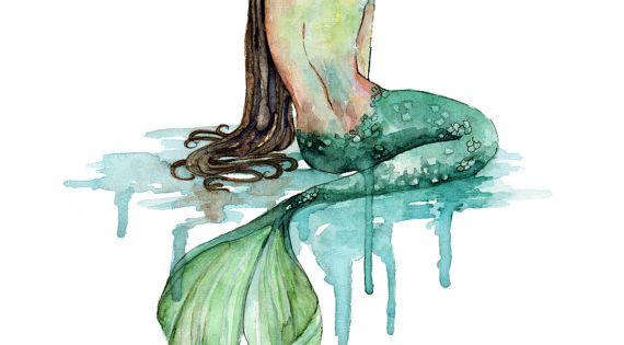 Peinture Aquarelle De Sir Ne Impression Intitul E La Sir Ne Decor Plage Queue De Sir Ne