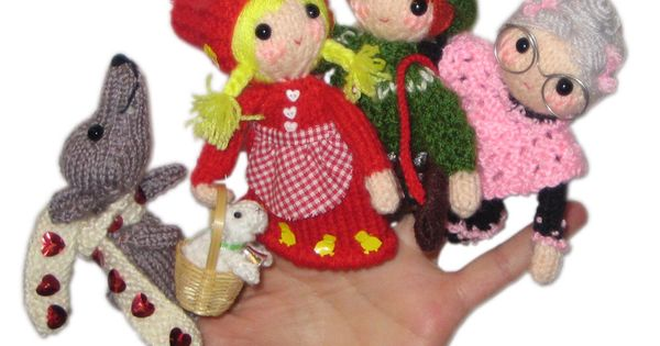 LITTLE Red Riding Hood Finger Puppets PDF Email knit ...