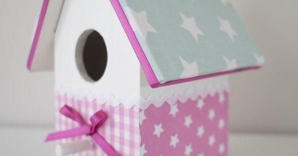 wit, roze & mint groen met sterren #vogelhuisje #kinderkamer ...