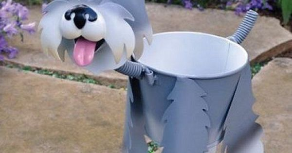 Adorable Schnauzer Mini Bobblehead Metal Dog Planter Stand Home Garden Planters Metals And