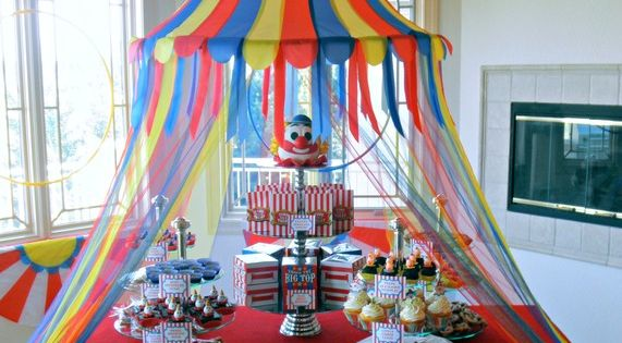 The Partiologist's Under The Big Top. Cute Circus Themed Centerpiece!-- the dancers