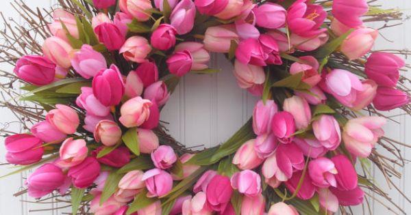 Tulip bouquet - Tulip Spring Wreath - Deep Pink Shades, $45.00