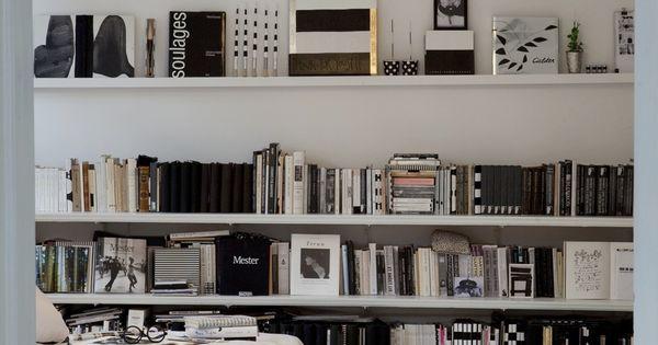 black and white bedroom shelves
