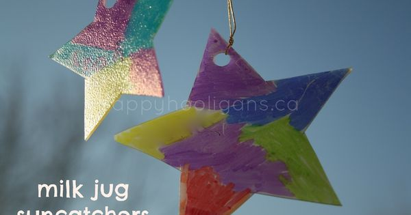 Milk jug sun catchers made with a plastic container and markers. Easy